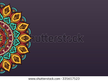 Elegant modern background with lace ornament and place for text. Floral elements, ornate background, mandala. raster illustration - stock photo