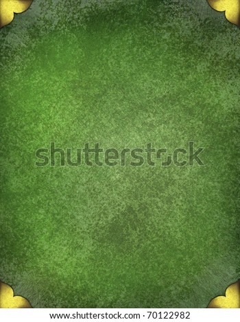 elegant old green background parchment with faded grunge antique texture and design layout with gold trim picture frame holders on corners with copy space, great for St. Patrick's day or Christmas - stock photo