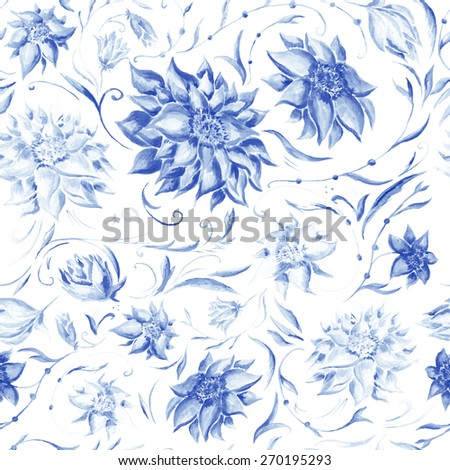 Elegant Pattern with Indigo Flowers   Watercolor floral seamless texture with blue peonies, leafs and petals for wallpaper and textile design - stock photo