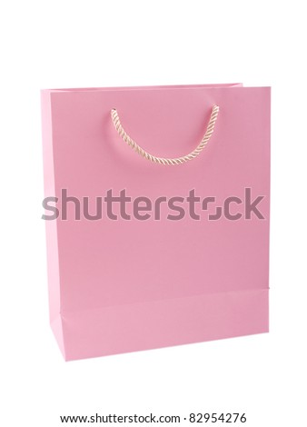 Elegant pink gift bag isolated on white background with clipping path - stock photo