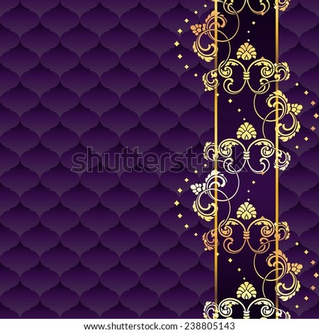 Elegant purple and gold Rococo background with ornamental margin (jpg); eps10 version also available - stock photo