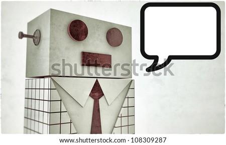 elegant robot with black tie - stock photo