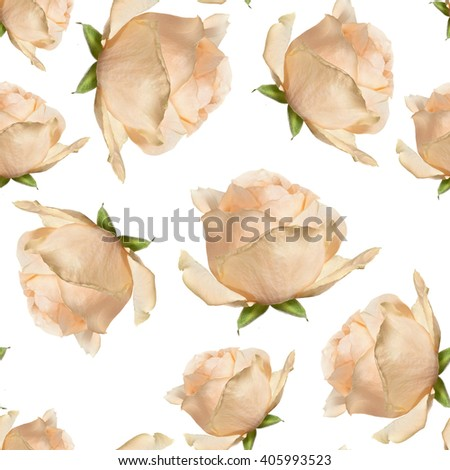 elegant  seamless pattern ellow beige rose  backdrop. A background for packing paper, a napkin, a cloth, a  congratulation - stock photo