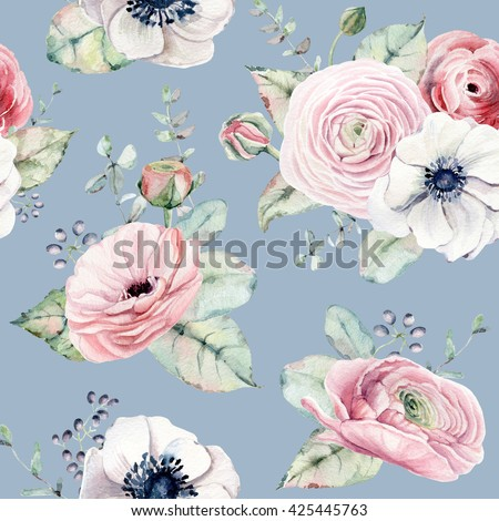 Elegant seamless pattern  in vintage watercolor style. It can be used for birthday card, invitation, wedding card, poster, mothers day card, fabric, textile design, wallpaper, wrapping paper - stock photo