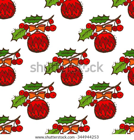Elegant seamless pattern with christmas decorations and holly berries, design elements. Can be used for winter holiday invitations, greeting cards, scrapbooking, print, gift wrap, manufacturing - stock photo