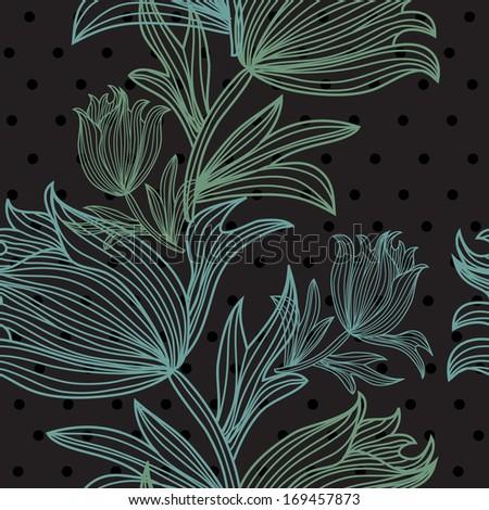 elegant seamless pattern with decorative tulip flowers, design element - stock photo