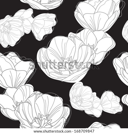 elegant seamless pattern with decorative tulips for your design - stock photo
