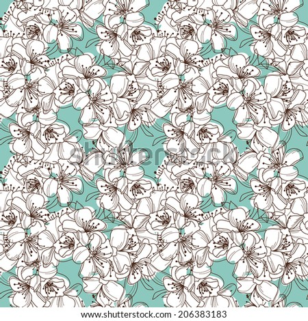 Elegant seamless pattern with hand drawn decorative cherry blossom, design elements. Floral pattern for wedding invitations, greeting cards, scrapbooking, print, gift wrap, manufacturing. - stock photo
