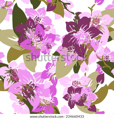 Elegant seamless pattern with hand drawn decorative orchid flowers, design elements. Floral pattern for wedding invitations, greeting cards, scrapbooking, print, gift wrap, manufacturing. - stock photo