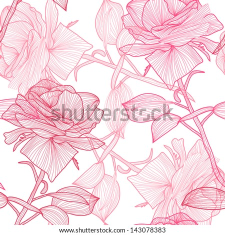 elegant seamless pattern with hand drawn pink roses for your design - stock photo