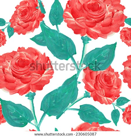 Elegant seamless pattern with oil painted decorative red roses, design elements. Floral pattern for wedding invitations, greeting cards, scrapbooking, print, gift wrap, manufacturing. - stock photo