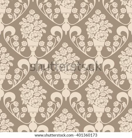 Elegant seamless Wallpaper - Ornament with bouquet of Flowers. Raster version. - stock photo