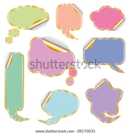 Elegant Set of Colorful Comic Clouds with Golden Contour - stock photo