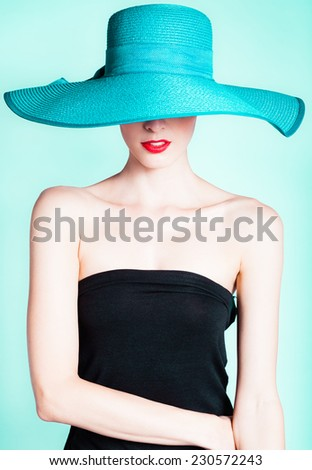 Elegant sexy woman with hat - stock photo