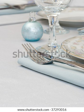 Elegant Table Setting For any Holiday Occasion - stock photo
