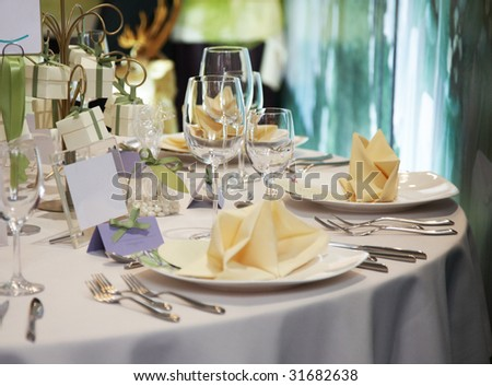 elegant table setting for wedding - stock photo