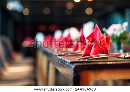 Elegant table setting in wedding  - stock photo