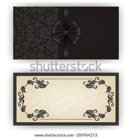 Elegant template for vip luxury invitation, greeting, gift card with lace ornament, bow, ribbon, place for text. Floral elements, pattern, ornate background. - stock photo