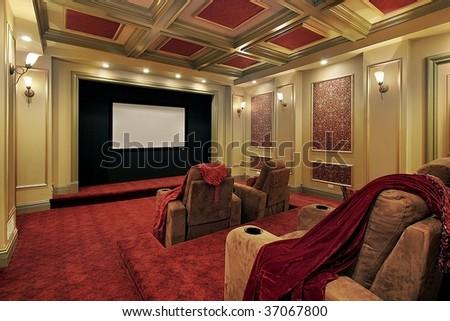 Elegant theater in mansion - stock photo