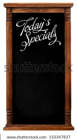 Elegant tool antique wooden picture frame chalkboard blackboard used as Today`s Specials isolated on a white background with copy space - stock photo