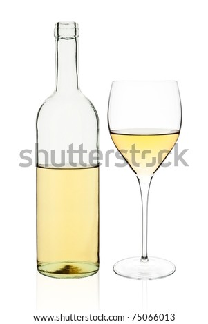 Elegant transparent white wine bottle and glass isolated on white background. - stock photo