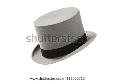 Elegant vintage gray wool felt top hat with black hat band. Grosgrain ribbon trim around rolled brim. Horizontal, isolated on white background. - stock photo