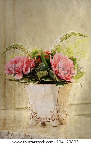 "Elegant ""vintage look"" flower arrangement. - stock photo"