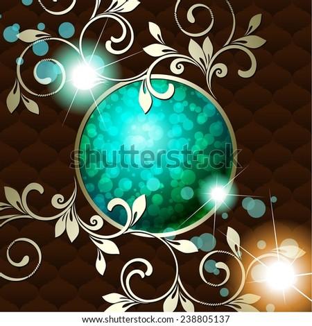 Elegant vintage rococo emblem in dark green (jpg); eps10 version also available - stock photo