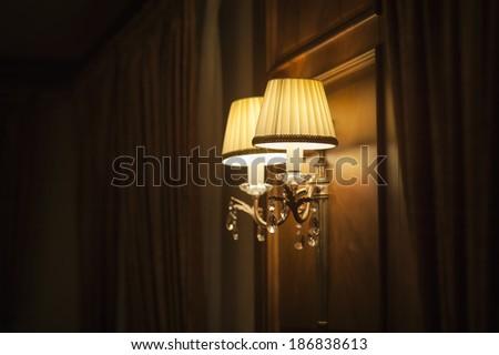 elegant vintage wall lamp  - stock photo