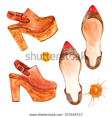 Elegant watercolor woman's clogs shoes on a wood platform. Elegant watercolor woman's red and brawn kitten heel flat shoes.  - stock photo