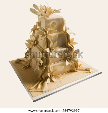 Elegant wedding cake on white backgrounds - stock photo