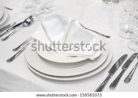 Elegant wedding dinner in white - stock photo