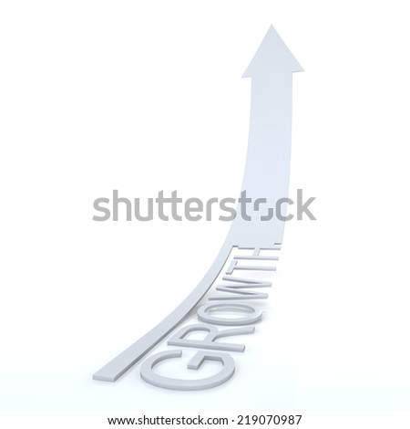 Elegant White Arrow Growth, High-resolution 3d rendering - stock photo