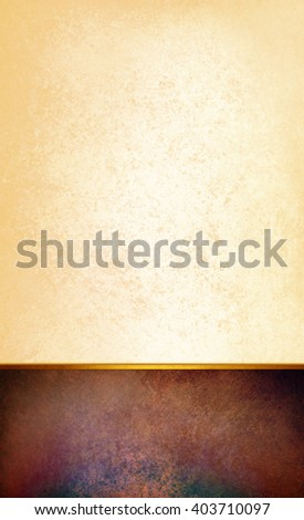 elegant white paper background design with brown coffee color footer or panel background on bottom, with thin gold ribbon or stripe trim, copyspace for text or product display - stock photo
