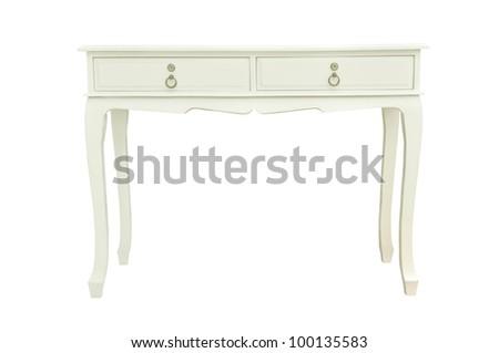 Elegant white table isolated on white - stock photo