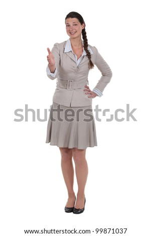 Elegant woman giving explanations - stock photo
