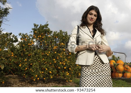 Elegant woman with a shopping basket full of fresh oranges, standing in an orange grove. - stock photo