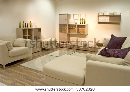 Elegnat and modern dining room in light and warm colors. - stock photo