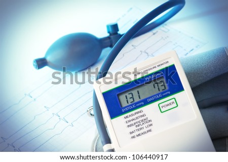 elektronic Medical tonometer isolated on white - stock photo