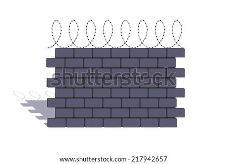 element of a stone fencing with a barbed wire - stock photo