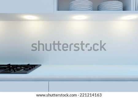 Element of the working area of modern kitchen with white worktop, stove hanging cupboards and shelves. 3d illustration. - stock photo