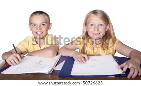 Elementary Children learning and studying - stock photo