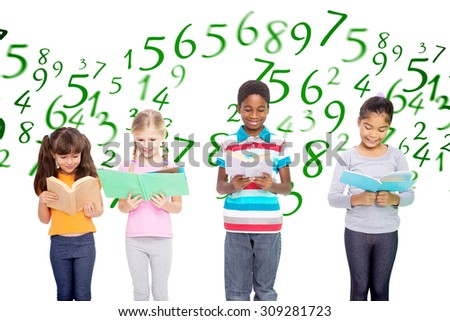 Elementary pupils reading against numbers - stock photo