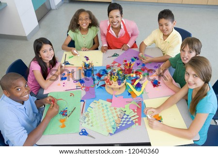 Elementary school art class viewed from above - stock photo