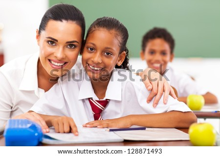 elementary school educator and students - stock photo