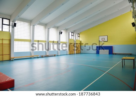 elementary school gym indoor - stock photo