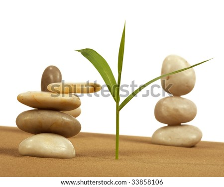 Elements feng shui for a relaxation and concentration of ideas on sand. - stock photo
