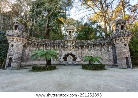 Elements of architectural structures in Quinta Regaleira. Sintra Portugal. - stock photo