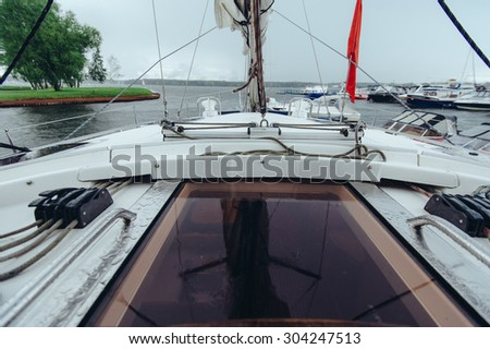 Elements of rigging and equipment sailing yacht - stock photo