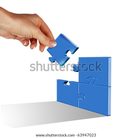 Elements of the puzzle going into a whole. As a symbol of various business solutions. - stock photo